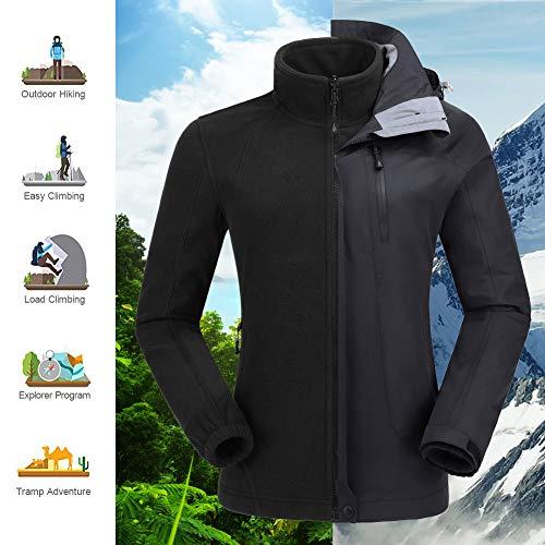 e63e59aa CAMEL CROWN Women's Outdoor Sports Jacket 3 in 1 Ski Waterproof Mountain  Coat Snow Windproof Hooded with Inner Warm Fleece